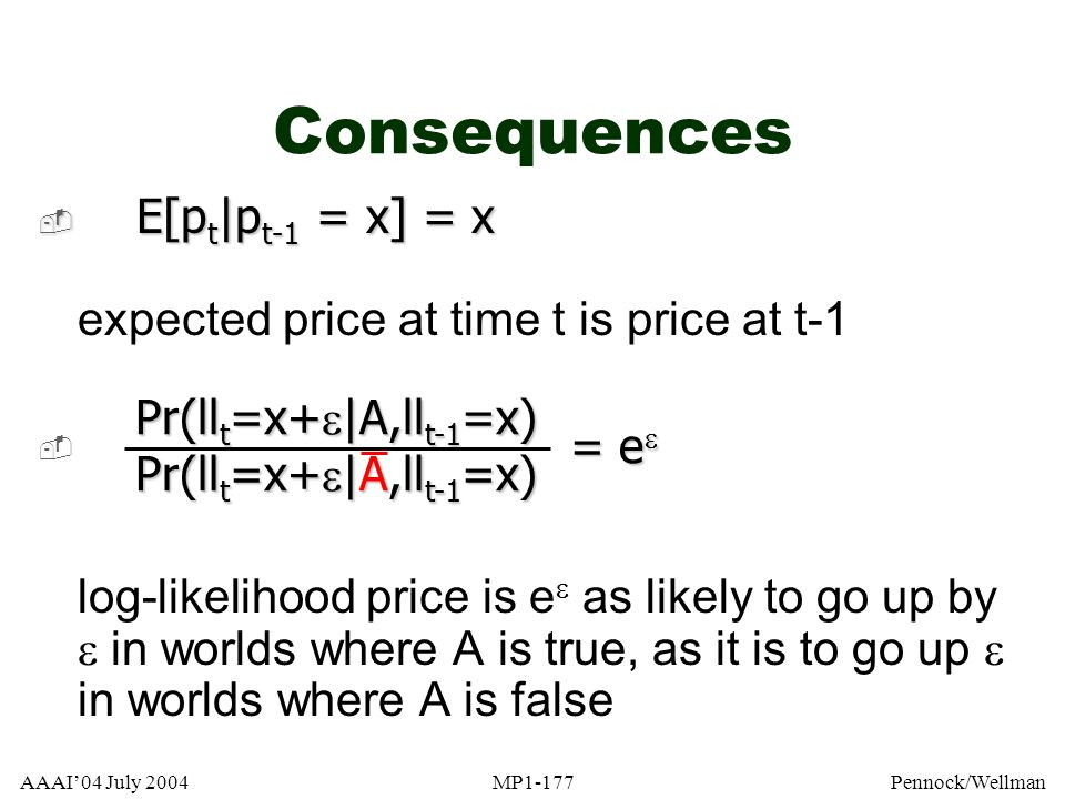 Consequences E[pt|pt-1 = x] = x expected price at time t is price at t-1.